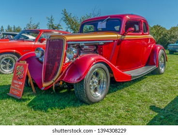 Canning, Nova Scotia, Canada - September 23, 2018 : 1934 Ford coupe hot rod at The Lookoff Campground Show & Shine, Canning Nova Scotia.