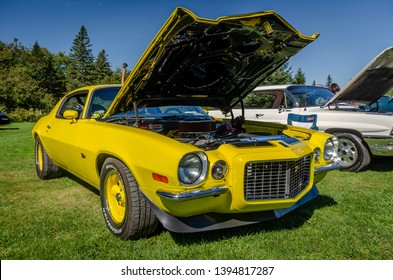 Canning, Nova Scotia, Canada - September 23, 2018 : 1970 Chevrolet Camaro Z/28 Rally Sport  at The Lookoff Campground Show & Shine, Canning Nova Scotia.