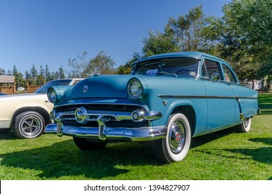 Canning, Nova Scotia, Canada - September 23, 2018 : 1954 Ford Customline at The Lookoff Campground Show & Shine, Canning Nova Scotia.