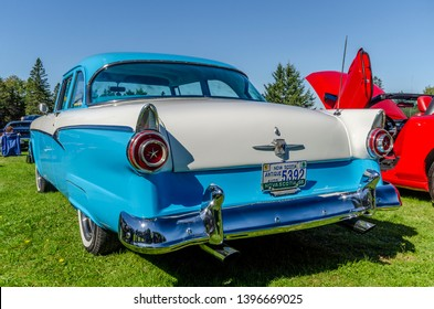 Canning, Nova Scotia, Canada - September 23, 2018 : 1956 Ford Fairlane on display at The Lookoff Campground Show & Shine, Canning Nova Scotia on a very beautiful early autumn day.