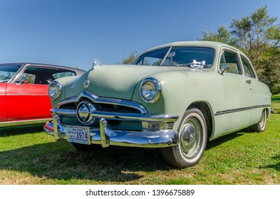 Canning, Nova Scotia, Canada - September 23, 2018 : 1950 Ford on display at The Lookoff Campground Show & Shine, Canning Nova Scotia on a very beautiful early autumn day.