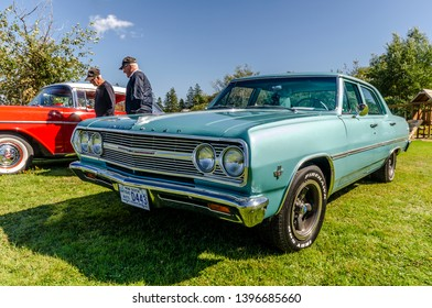 Canning, Nova Scotia, Canada - September 23, 2018 : 1965 Chevrolet Chevelle Malibu on display at The Lookoff Campground Show & Shine, Canning Nova Scotia on a very beautiful early autumn day.