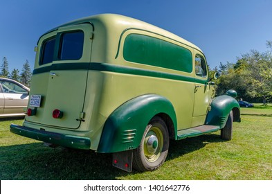 Canning, Nova Scotia, Canada - September 23, 2018 : 1940s Fargo panel truck on display at The Lookoff Campground Show & Shine in the Annapolis Valley region of Nova Scotia.