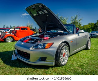 Canning, Nova Scotia, Canada - September 23, 2018 : 2000 Honda S-2000 sports car on display at The Lookoff Campground Show & Shine in the Annapolis Valley region of Nova Scotia.