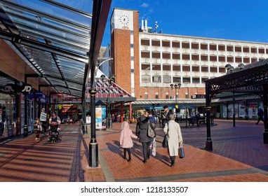 Cannock, October 31. People walking along the passage while shopping at the Shopping Center, UK 2018