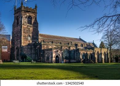Cannock, Staffordshire, UK – 18 March  2019: St Luke's Church, Cannock, Staffordshire. in the Parish of Cannock and Huntington. St Luke's Church dates from the 12th century.