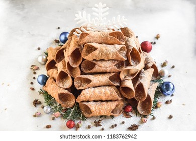 Cannoli tubes as the Christmas tree,selective focus