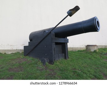 Dybbøl cannon against grey winter clouds in Southern Denmark, site of 1864 war with Germany