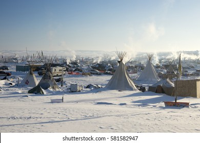 CANNON BALL, NORTH DAKOTA, USA - JANUARY 7, 2017: Oceti Sakowin Camp in the early morning