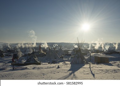 CANNON BALL, NORTH DAKOTA, USA - JANUARY 7, 2017: Bright sun at Oceti Sakowin Camp in the early morning