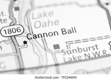 Cannon Ball. North Dakota. USA on a map.