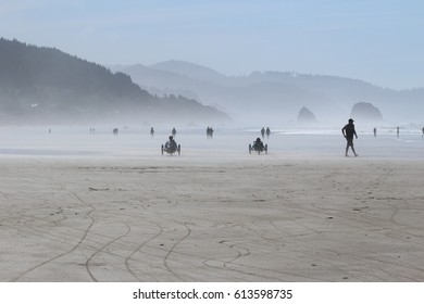 Cannon beach, Oregon- recumbent bikes on misty beach