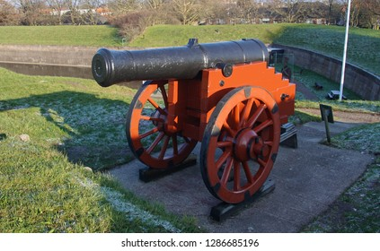 Cannon in casement of fortifications of Naarden, Netherlands
