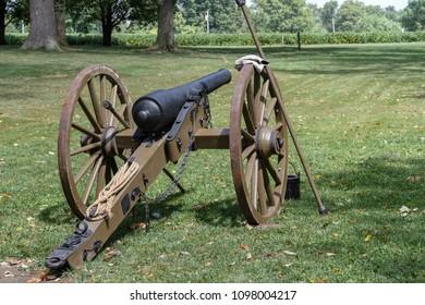 cannon at civil war reenactment - landscape