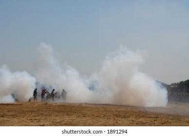 Cannon fire, Civil War reenactment, Clements, California