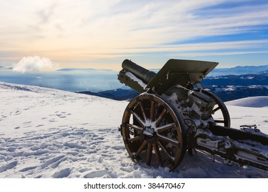 A cannon from Monte Grappa first world war memorial, Italy. Winter view