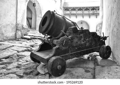 Cannon on entrance to Olesko Castle, Lvivska Region, Ukraine, built before 1390