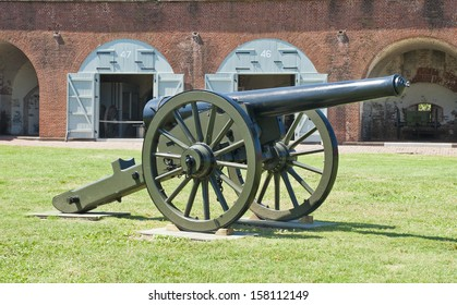 A cannon on the parade ground of Fort Pulaski National Monument in Savannah Georgia.