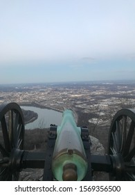 Cannon positioned on lookout mountain overlooking downtown Chattanooga