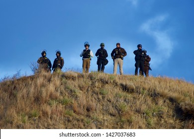 Cannonball, North Dakota - November 24 2016: Police observe a group of 'NODAPL' protesters on Thanksgiving