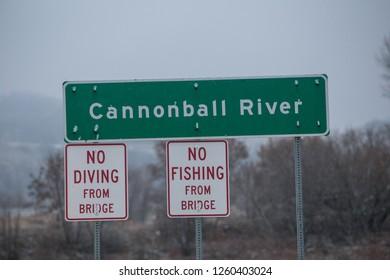 CANNONBALL, NORTH DAKOTA, USA - NOVEMBER 26, 2016: Cannonball River road sign.