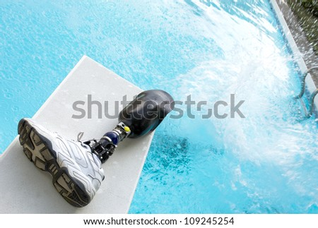Pool Splash Cannonball For Cannonball Splash In Pool With Prosthetic Leg Left On Diving Board Splash Pool Prosthetic Leg Left Stock Photo edit Now