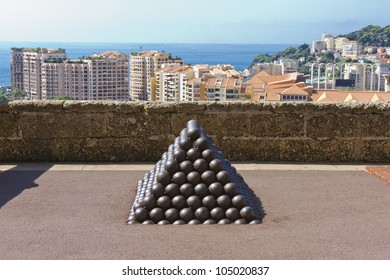 Cannonballs near Prince's Palace of Monaco. Principality of Monaco is a sovereign city state, located on the French Riviera in Western Europe.