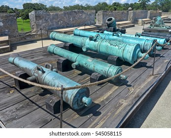 Cannons at the Castillo de San Marcos Fort in St Augustine, Florida.