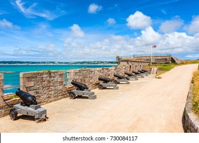Cannons at Elizabeth Castle, off the coast of Saint Helier, Jersey, Channel Islands, UK