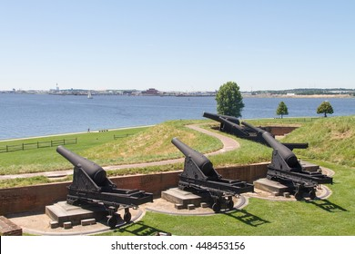 Cannons at Fort McHenry, Baltimore, Maryland.