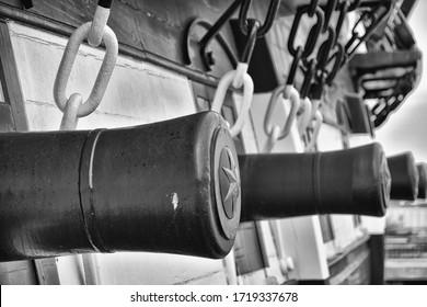 The Cannons of Fregatten Jylland, Ebeltoft, Danmark (in black and white).