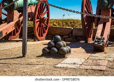 Cannons at Kronborg castle in Elsinore, Denmark.