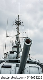 cannons on the battleship