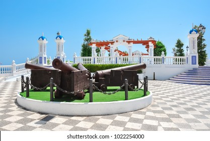 Cannons on Benidorm embankment, Spain