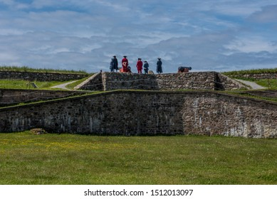 Cannons on hilltop at Fortress of Louisbourg National Historic Site