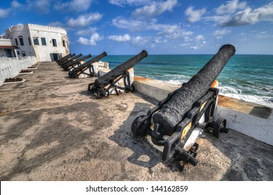 Cannons overlooking from Cape Coast Castle, a fortification in Ghana built by Swedish traders for trade in timber and gold. Later the structure was used in the trans-Atlantic slave trade.