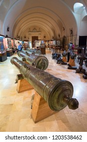 Cannons at the Palace Armoury. Grandmaster's Palace in Valletta, Malta. 13 March 2018