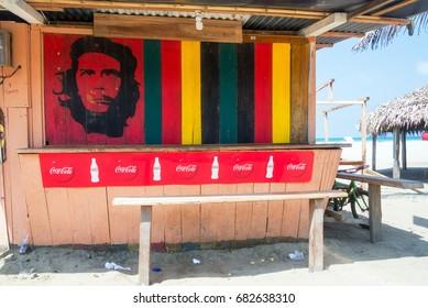 CANOA, ECUADOR - FEBRUARY 23: Communist revolutionary Che Guevara and Coca Cola on a food stand in Canoa, Ecuador on February 23, 2015