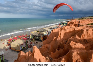 Canoa Quebrada, Brazil - 18 January 2019: the beach of Canoa Quebrada on Brazil