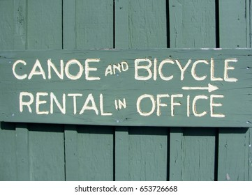 Canoe and Bicycle Rental sign