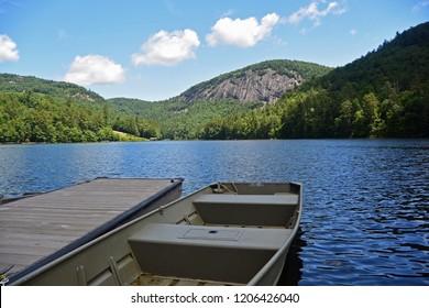 Canoe docked on Fairfield Lake, Sapphire Valley, North Carolina