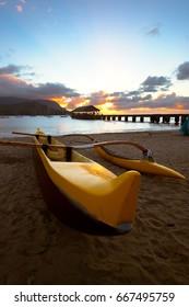 Canoe at Hanalei Bay, Kauai, during sunset