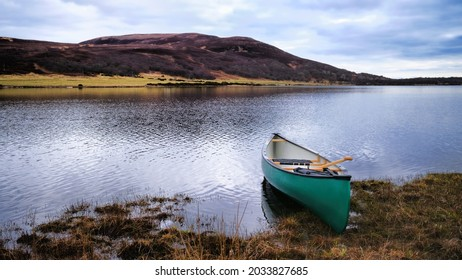 Canoe on the banks of Loch Brora in the Highlands of Scotland
