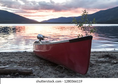 Canoe on a beach in the Yukon Territory, Canada.