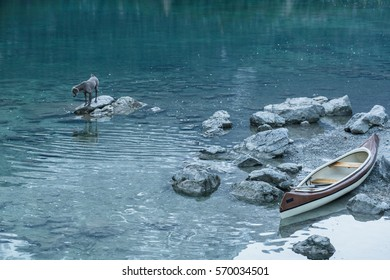 Canoe on calm blue lake and dog, Aibsee, Germany