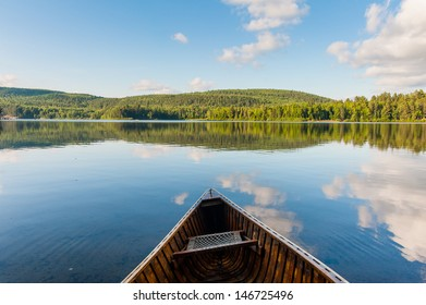 The canoe on the lake in the canadian park