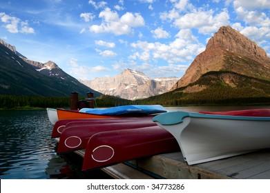Canoe on lake. Glacier National Park. Montana