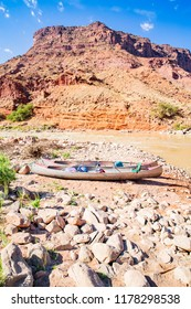 Canoe on the riverbank, Colorado Riverway Recreation Area, Utah, USA