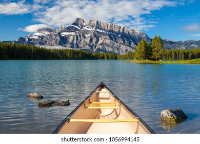 A canoe on the water at Two Jacks Lake in Banff National Park, Alberta, Canada