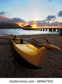 Canoe overlooking Hanalei Bay at Sunset, Kauai, Hawaii